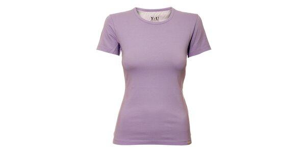 Dámské triko s kulatým výstřihem YU Feelwear v barvě lila