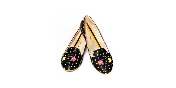 Dámské černé loafers s Pacmanem The Bees