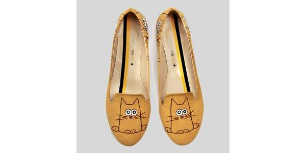 Dámské žluté loafers s veselým potiskem The Bees