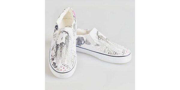 Dámské krémově bílé boty s originálním potiskem The Bees