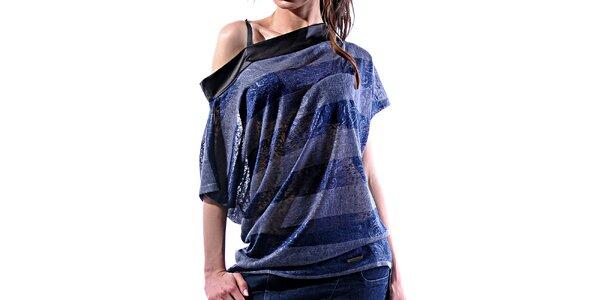 Dámské šedo-modré pruhované tričko Female Fashion