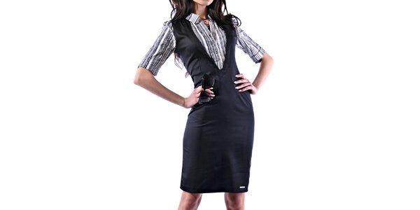 Dámské lesklé pouzdrové šaty s pruhovanou košilí Female Fashion