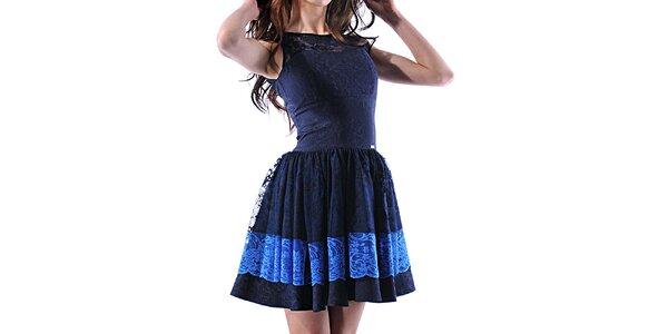 Dámské modré krajkové šaty Female Fashion
