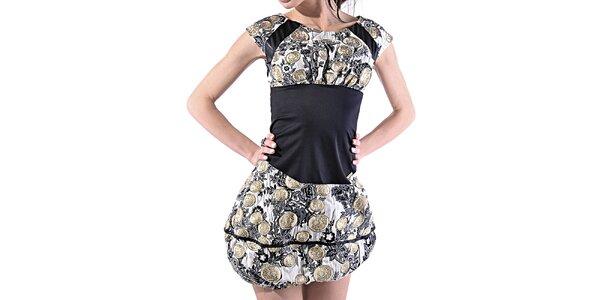 Dámské vzorované balonové šaty Female Fashion