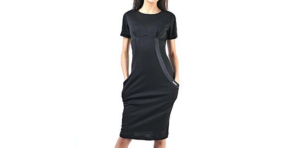 Dámské černé šaty s kapsami Female Fashion