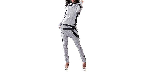Dámský šedý teplákový set s černými detaily Female Fashion