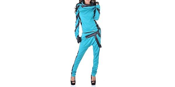 Dámský modrý teplákový set s černými detaily Female Fashion
