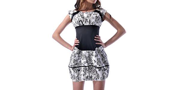 Dámské černo-bílé potištěné šaty Female Fashion
