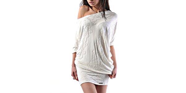 Dámské bílé reliéfní minišaty Female Fashion