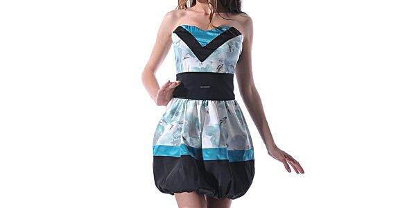 Dámské modro-černé šaty s balonovou sukní Female Fashion