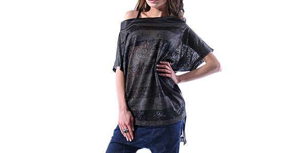 Dámské šedo-černé pruhované tričko Female Fashion