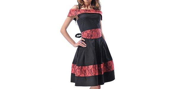 Dámské černé šaty s květinami Female Fashion