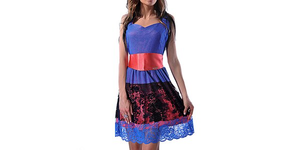 Dámské dvoubarevné šaty s krajkou Female Fashion