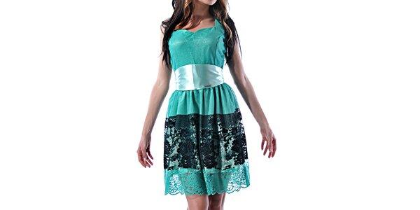Dámské tyrkysové šaty s krajkou Female Fashion