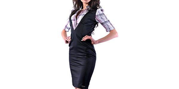 Dámské lesklé pouzdrové šaty s košilí Female Fashion
