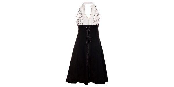 Dámské černo-bílé šaty Holly Kate s volány a šněrováním