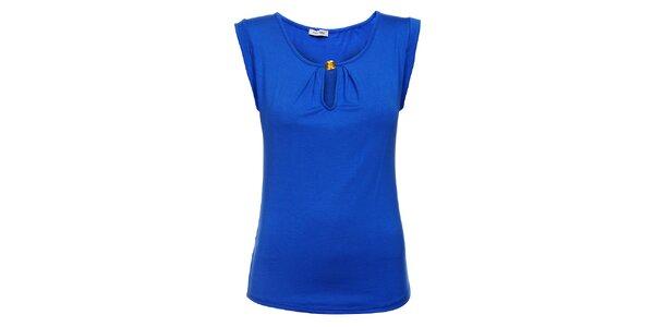 Dámské zářivě modré tričko Holly Kate se zlatým knoflíkem