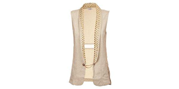 Dámská dlouhá béžová vesta Holly Kate se zlatými cvoky