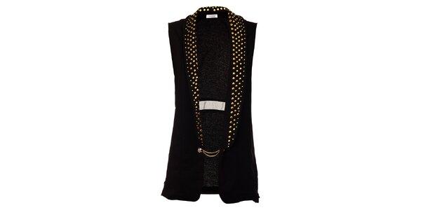 Dámská dlouhá černá vesta Holly Kate se zlatými cvoky