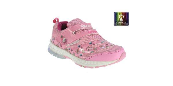 Dětské růžové tenisky s barevnými obrázky Beppi