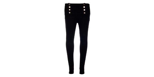 Dámské černé kalhoty Holly Kate s kovovými knoflíky