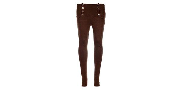Dámské hnědé kalhoty Holly Kate s kovovými knoflíky