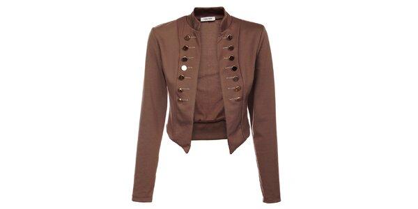 Dámský hnědý kabátek Holly Kate s kovovými knoflíky