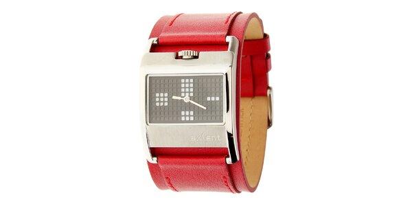 Dámské ocelové hodinky Axcent s červeným koženým řemínkem