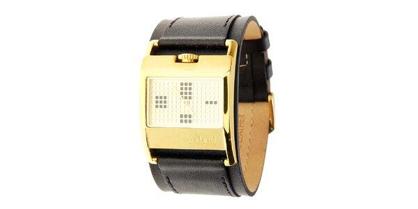Dámské zlaté náramkové hodinky Axcent s černým koženým řemínkem