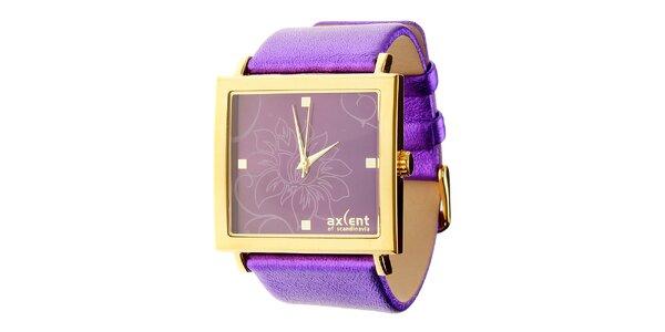 Dámské fialové náramkové hodinky Axcent s koženým řemínkem
