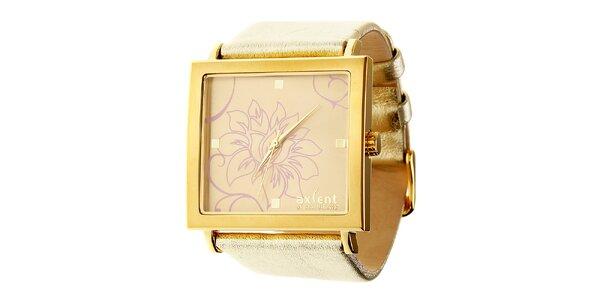 Dámské zlaté náramkové hodinky Axcent s koženým řemínkem