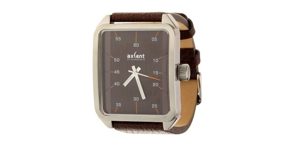 Pánské tmavě hnědé náramkové hodinky Axcent s koženým řemínkem