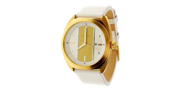 Dámské zlaté náramkové hodinky Axcent s bílým koženým řemínkem