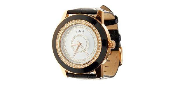 Dámské černo-zlaté náramkové hodinky Axent s koženým řemínkem a kamínky
