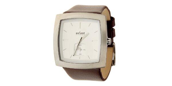 Pánské ocelové hodinky Axcent s hnědým koženým řemínkem