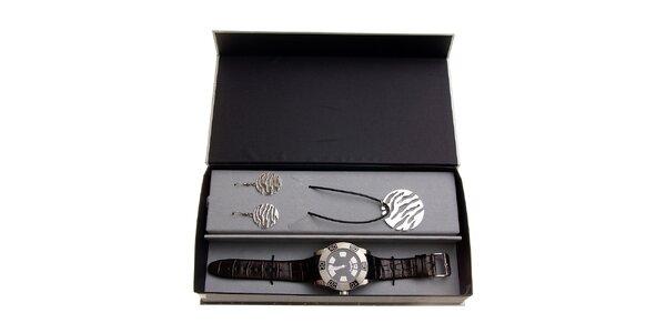 Dámská dárková sada Axcent - černo-stříbrné hodinky a náhrdelník s náušnicemi