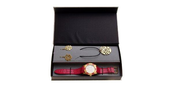 Dámská dárková sada Axcent - červeno-zlaté hodinky a náhrdelník s náušnicemi