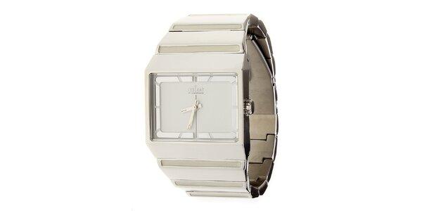 Stříbrné ocelové hodinky Axcent s bílým ciferníkem