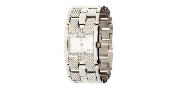Dámské stříbrné ocelové hodinky Axcent s kamínky