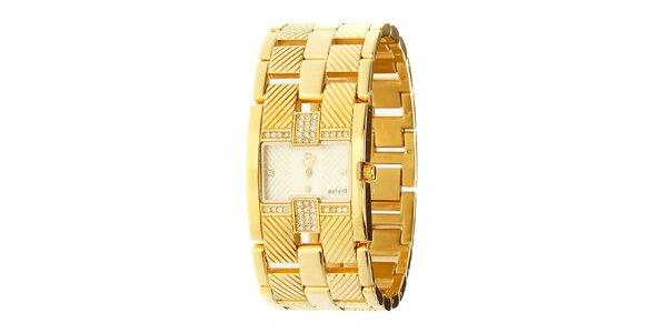 Dámské zlaté ocelové hodinky Axcent s kamínky