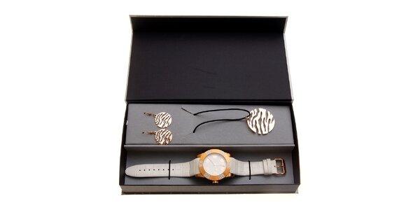 Dámská dárková sada Axcent - bílo-zlaté hodinky a náhrdelník s náušnicemi
