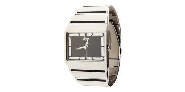 Stříbrné ocelové hodinky Axcent s černým ciferníkem