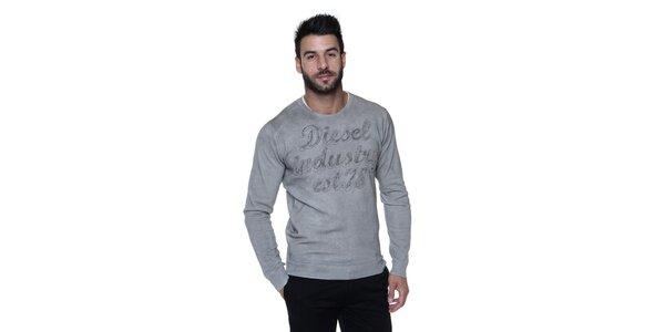 Pánský šedý bavlněný pulovr s nápisem Diesel