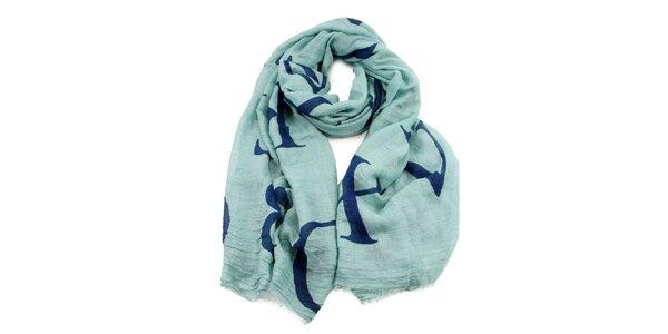 Dámský šátek v mátové barvě s potiskem Invuu London