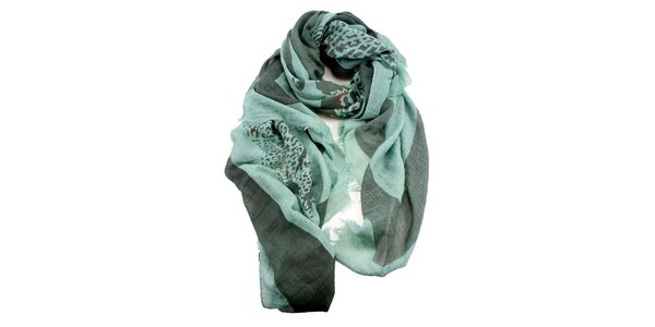 Dámský mátový šátek s potiskem Invuu London