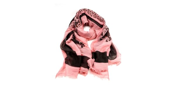 Dámský růžový šátek s potiskem Invuu London