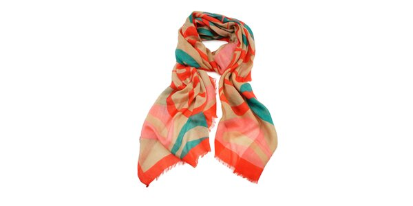 Dámský korálový šátek s roztřepeným lemem Invuu London