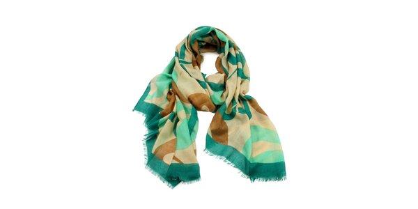 Dámský mátový šátek s roztřepeným lemem Invuu London