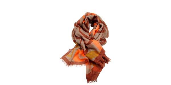 Dámský vícebarevný šátek s roztřepeným lemem Invuu London