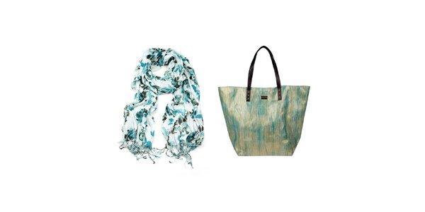 Dámský set - bílý květinový šátek a taška Invuu London